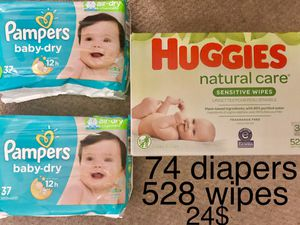 74 size 2 pampers baby dry diapers and 528 wipes for only 24$ for Sale in Silver Spring, MD