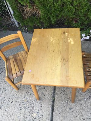 Small kids play table and two wooden chairs for Sale in Fraser, MI