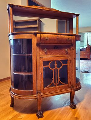 Antique curved glass oak sideboard with beveled mirror for Sale in Portland, OR