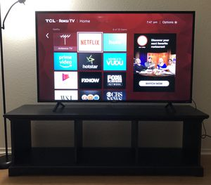 TCL 55 inch Roku TV and wooden TV stand for Sale in San Ramon, CA