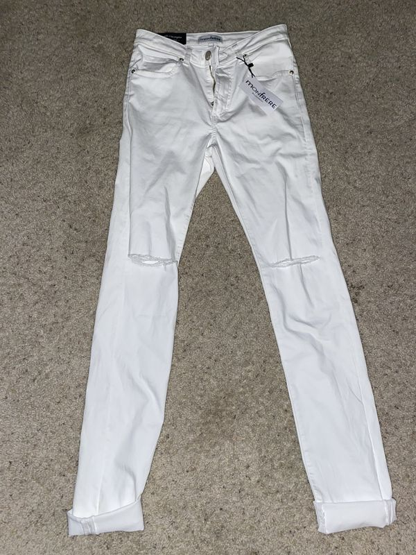Monfrere White knee ripped jeans (skinny fit)