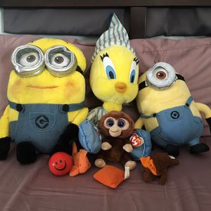 Minions, Tweety Bird, Monkey Stuffed Animals for Sale in Fremont, CA