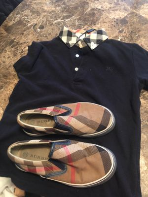 Burberry shoes size 32 kids shoe size 13.5 &polo button down Burberry shirt(8y) for Sale in Lancaster, TX