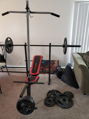 Olympic weight set 300lbs with bench for Sale in Allen Park, MI