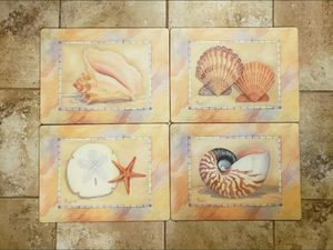 4 Cork Backed Placemats Place Mats Seashells Beach Ocean Decor for Sale in Willow Spring, NC