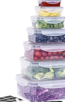 🍘 $20 Brand New In Box Large Food Storage Containers with Lids Airtight (Set of 7) for Sale in Everett, MA