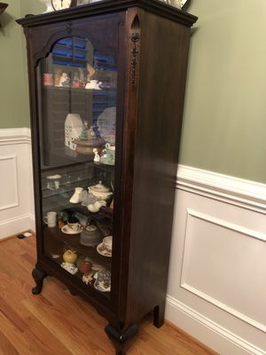 Antique China / Curio Cabinet Dark Wood. 38 inches wide by 58 inches tall by 14 inches deep. 5 Shelves. 4 Shelves are Movable for Sale in Raleigh, NC