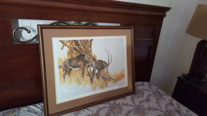 Hand painted. 3 safari uart. 35 each. Signed by artist. All customed framed for Sale in Alexandria, VA