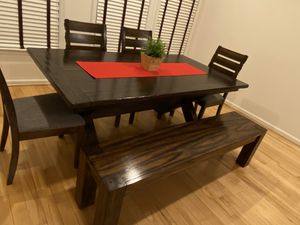 (OBO) Pottery Barn Dining Table + 4 Chairs + Bench - All are real solid wood for Sale in Ashburn, VA