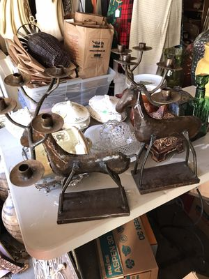TWO METAL REINDEER CANDLE HOLDERS for Sale in Oklahoma City, OK