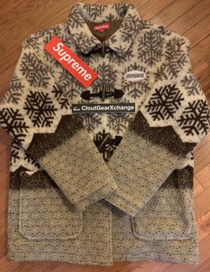 Supreme Snowflake Toggle Fleece Jacket Tan Large BRAND NEW! for Sale in Reston, VA