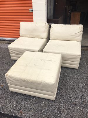 White leather sectional sofa couch for Sale in Laurel, MD