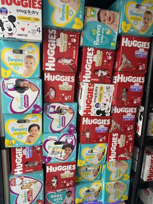 Pampers cruisers, pampers swaddlers, huggies little movers, huggies snug and dry for SALE for Sale in Hialeah, FL