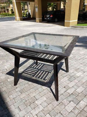 Square glass wooden dining breakfast table (has scratches,table assembled is around 50 inches, glass is 41 x41) needs painting for Sale in Fort Lauderdale, FL