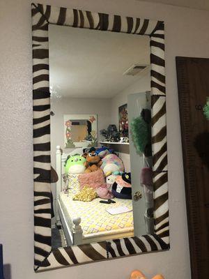 Large zebra leather mirror for Sale in Coachella, CA