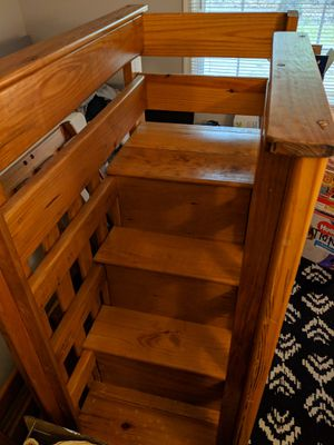 Solid Wood Twin Bunk Bed with stairs & 5-drawer storage for Sale in West Springfield, VA
