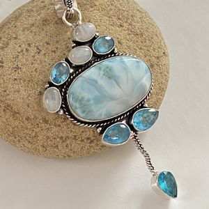 Stunning handcrafted caribbean larimar, moonstone and blue topaz 925 sterling silver overlay pendant for Sale in Camarillo, CA
