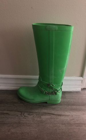 Coach lime green rain boots size 7 for Sale in Irvine, CA