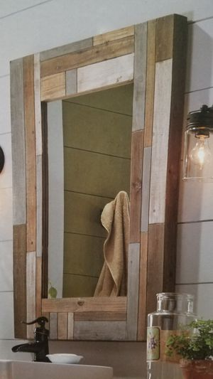 New Allen + Roth Solid Wood Frame Mirror Barn Farm Style 28x38x2 for Sale in Hackettstown, NJ