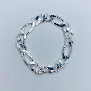 "925 Sterling Silver Figaro ID Bracelet 8"" Men or young men Pulsera de plata de Hombre Disponible en 8"" for Sale in Houston, TX"