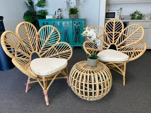 3-Piece Patio Set with 1 Rattan Table and 2 Cushioned Chairs for Sale in El Monte, CA
