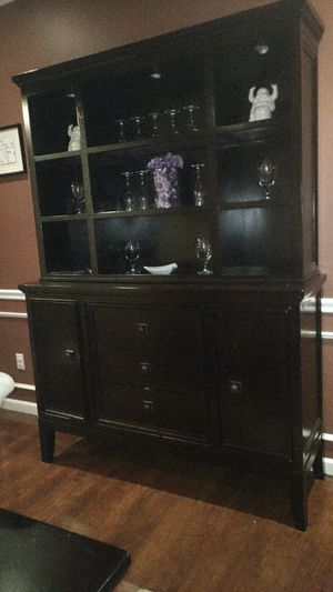 DINING HUTCH / BUFFET / STORAGE ~ ESPRESSO FINISH ~ UNDER CABINET LIGHTING for Sale in Vermilion, OH