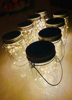 NEW 8 FOR $20 Solar 20 LED Mason Jar Landscaping Garden Party Centerpiece Wedding Decor Dinner Decoration with 3x5 Inch Jar Warm White 20 Hours Full for Sale in Los Angeles,  CA