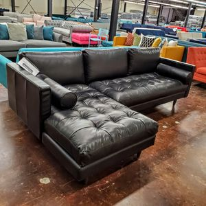 Beautiful black leather sectional joy.b.i.r.d collection for Sale in Dallas, TX