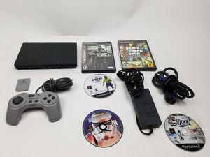 Slim PS2 PLAYSTATION 2, 5 game bundle (Cleaned and for Sale in Tucker, GA