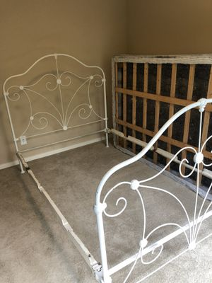 Full bed frame double bed frame antique white iron for Sale in Boise, ID