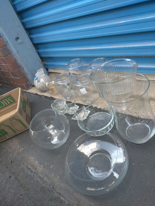 !!! Various glass vases bowls etc $10 all