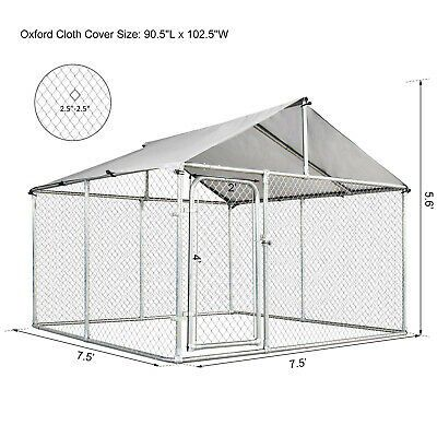 7.5'x7.5 Large Galvanized Steel Fence with Roof Outdoor Use