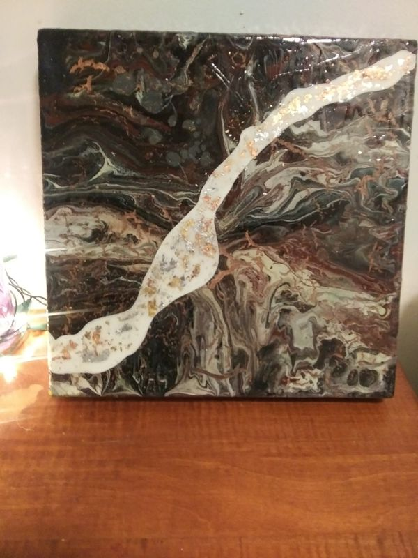 12×12 acrylic pour abstract wall art