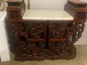 Vintage Asian Inspired End Table. Really Nice. Marble Top for Sale in Beavercreek,  OR