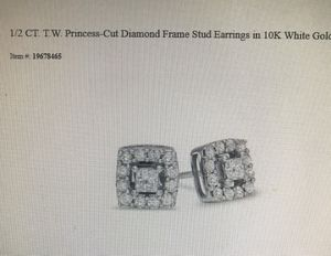 1/2 CT. T.W. Princess-Cut Diamond Frame Stud Earrings in 10k White Gold for Sale in Spring, TX