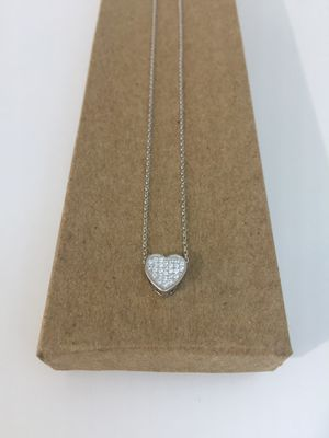 Solid 925 Sterling Silver heart pendant with Cubic Zirconia stones for Sale in West Covina, CA