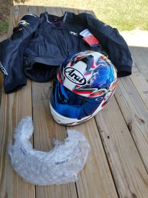 Arai Victor web. Helmet and RST Isle of Man leather jacket for Sale in Greenville, SC