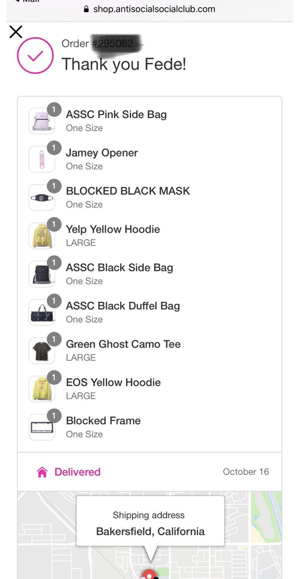 Anti Social Social Club EOS Yellow Hoodie sweater Large