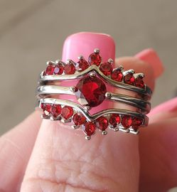 Ruby 3 Band Unique Wedding Set.... Size 6.5 /7 for Sale in Riverside,  CA