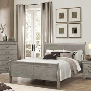Queen 4pc grey / gray bedroom set Queen Bed, dresser, mirror, nightstand must go $500 for Sale in Ontario, CA