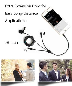 Lavalier Microphone, MAONO AU-303 Dual Clip-on Handsfree Omnidirectional Condenser Interview Lapel Mic with Headphone Monitoring Output Jack for iPho for Sale in Avocado Heights, CA