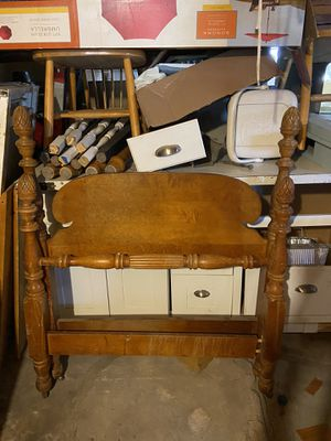 Twin bed wooden head and foot board set with wheels antique style for Sale in Chelsea, MA