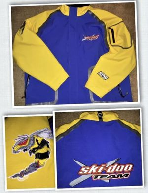 XL Ski Doo X-Team Snowmobile Snow Ski Race Jacket Coat RPM BRP Yellow Blue Hood for Sale in Steilacoom, WA
