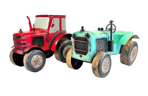 Two Decorative Large-Scale Metal Farm Tractors for Sale in Island Lake, IL