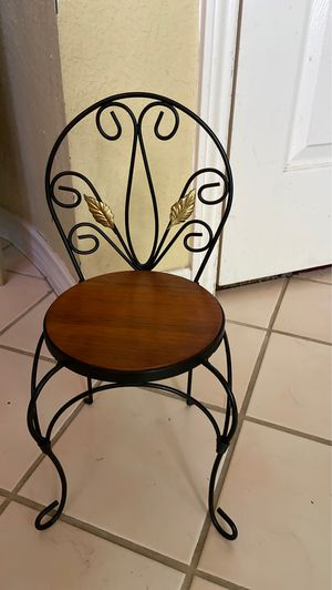 Doll 18 inches regular doll size wooden chair and metal black back for Sale in Grand Prairie, TX