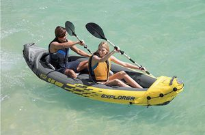 Intex Explorer K2 Kayak, 2-Person Inflatable Kayak Set with Aluminum Oars and High Output Air Pump for Sale in Irvine, CA