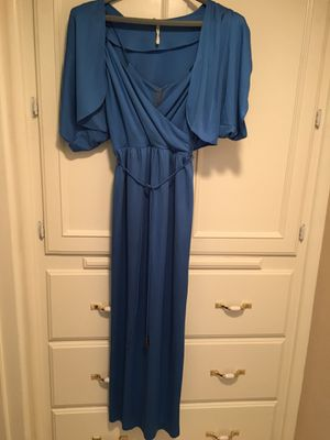 Teenager/woman's blue jersey material/spaghetti straps/jacket dress size 13/14 for Sale in Fresno, CA