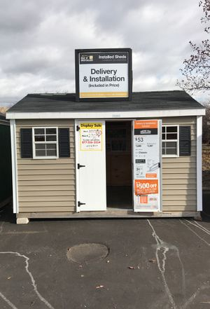 Sheds USA 8x12 Vinyl Classic Display Shed on sale at Home Depot Westbury NY 11590 for Sale in Westbury, NY