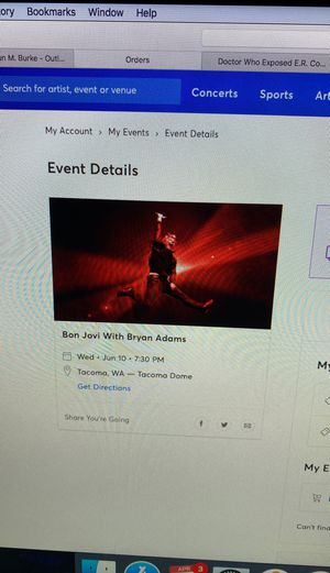 Bon Jovi floor tickets 17 rows from stage for Sale in Lake Stevens, WA