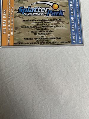 Splatter Park Paint Ball Tickets for Sale in Columbus, OH